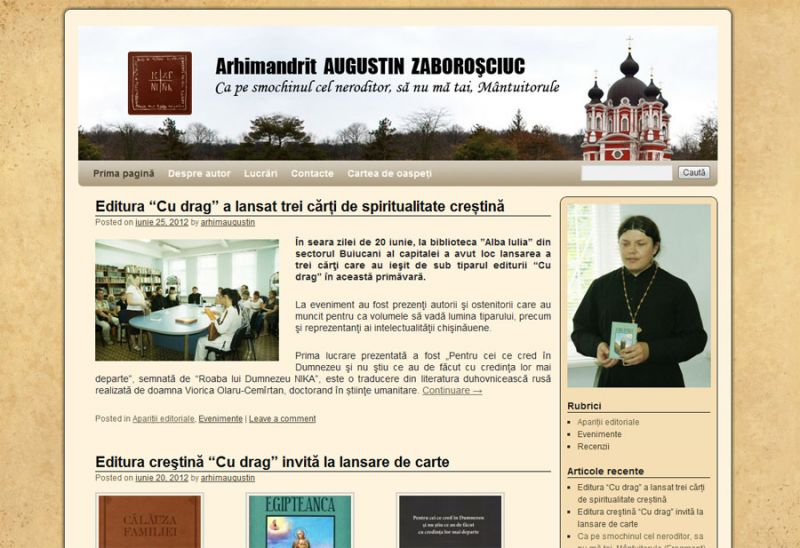 1438926584 Părintele Arhimandrit Augustin (Zaboroşciuc) nevoitor al Mănăstirii Curchi, ne bucură cu un blog de autor